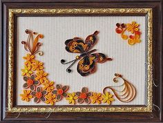 "quilling, квиллинг, цветы, Квиллинг ""Осенний"" (мои работы) панно flowers Butterfly"