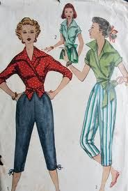 Pedal Pushers: Pants that ended mid-calf or shorter. These were made popular amongst suburban women.