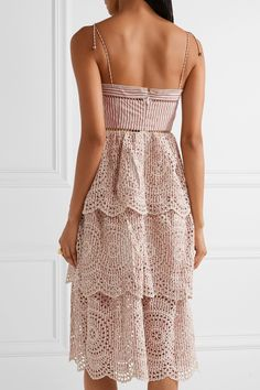 Циммерманн | Меридиан рубчик с отделкой в полоску вышивка англез платье из хлопка | NET-A-PORTER.COM