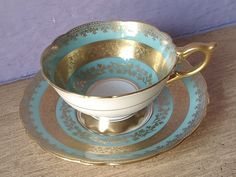 Antique Royal Stafford blue and gold tea cup by ShoponSherman, $149.00