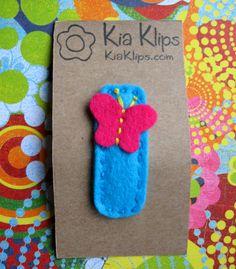 Pink Butterfly wool felt snap hair clip. $4.00, via Etsy.
