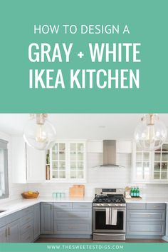 A Gray and white IKEA kitchen. A budget friendly kitchen makeover that you can design yourself and DIY. Click through for sources!