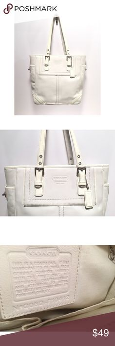 "Coach No. G06Q-F10412 Hampton Legacy White Tote 💘 Beautiful White Tote by Coach No. G06Q-F10412💘100% Authentic   Size •  10.5"" Height & 13"" Across  Style Name • Hampton Legacy  Style Bag • Tote  Color • White and Interior-Ivory  Material• Leather & Patent Leather Trim  Silver Hardware   Note: >>>>>Condition: Pre-Owed & Loved 💞 There are some scruffs, little marks on corners and Strap. See picture (5). Some fading inside the bag.  Other than that, still a beautiful bag ✨  New Item posted…"
