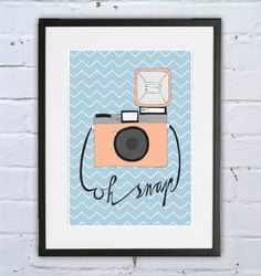 """Print poster """"Vintage camera: Oh snap"""" / art print / wall art / poster / a4 on Etsy, $16.08 AUD"""