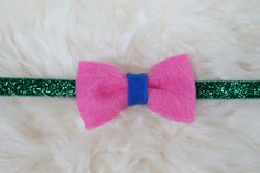 Pink and Blue Felt Bow on Green, Blue or Gray Glitter Headband by sparkleandspiceshop