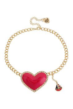 Heart & Sailboat Necklace, Betsey Johnson