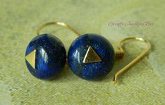 Lapis Lazuli Earrings 9ct Gold Plated by GiraffeJewelleryBox