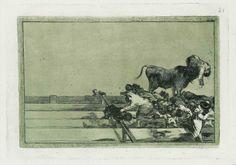 Desgracias acaecidas en el tendido de la Plaza de Madrid, y muerte del alcalde de Torrejón, aguafuerte y aguatinta, 1815-1816.