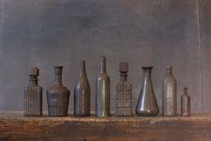 magpiemouse:  Scorched glass via Man Make Home: 1. Buy vintage glass bottles 2. Set house on fire