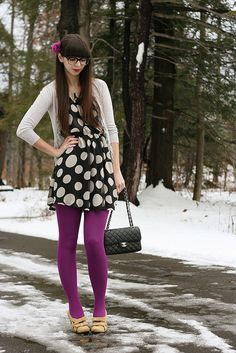 // polka dots purple tights - from my closet - dot shirt, cardigan, black skirt purple tights Colored Tights Outfit, Purple Tights, Floral Tights, Nylons, Pantyhose Outfits, Black Chanel Purse, Wool Tights, Opaque Tights, Casual Winter