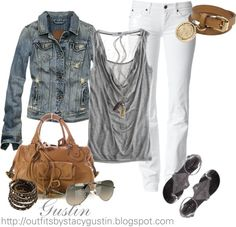 """white jeans and jean jacket"" by stacy-gustin on Polyvore"