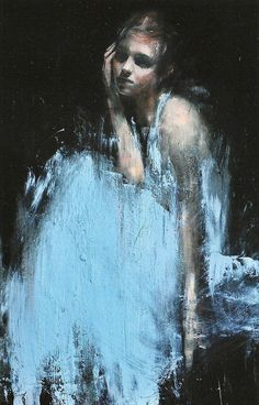 British artist, Mark Demsteader girl figure in blue dress. markdemsteader.com. Love brushwork and yes, that baby blue