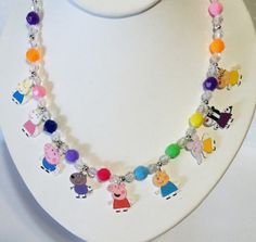 Peppa Pig Charm Necklace Peppa Pig Necklace by Made4UBySisters2