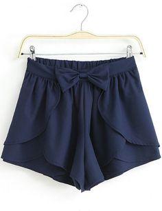 Navy Bow Cascading Ruffle Chiffon Skirt Shorts - Sheinside.com