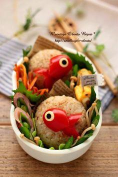 Cute goldfish sesame & bonito flake onigiri bento box