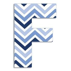 Stupell Decor Stupell Industries Oversized Blue Chevron Hanging Initial - OHI-102 F