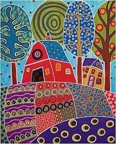 Folk Art Abstract Painting - Barn Garden Landscape by Karla Gerard Landscape Quilts, Landscape Art, House Landscape, Karla Gerard, Art Fantaisiste, Rug Hooking Patterns, Art Patterns, Paper Patterns, Stitch Patterns
