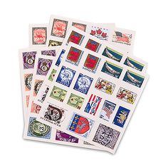 """Countries Around the Globe"" Postage Stamp Sticker Assortment - Confetti.co.uk"