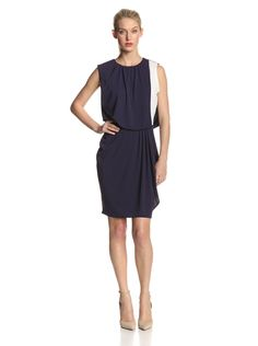 Drape-Front Dress with Exposed Zipper by DKNYC