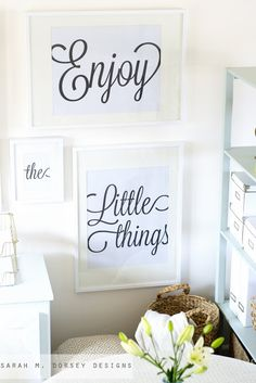 Fun free printables. Black and white typography. Your are my sunshine, follow your dreams, enjoy the little things and never ever give up.