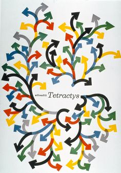 Typographic poster design by Giovanni Pintori for Olivetti Tetractys, circa 1956 Modern Graphic Design, Graphic Design Typography, Graphic Design Illustration, Graphic Design Inspiration, Vintage Advertising Posters, Vintage Advertisements, Vintage Posters, Retro Ads, Art Et Design