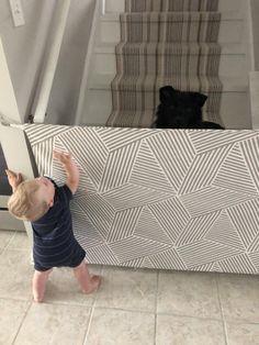 Fabric Baby & Pet Gate- Hooks Directly to Staircase Wall Staircase Gate, Stairs, Fabric Baby Gates, Pet Gate, Dog Gates, Etsy Fabric, Command Hooks, Front Steps, Manualidades