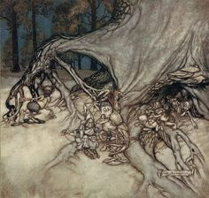 ✽    arthur rackham   -  'if the bad ones among the fairies happen to be out; peter's goat'   - from peter pan in kensington gardens by j m barrie - 1906 *~❤•❦•:*´`*:•❦•❤~*