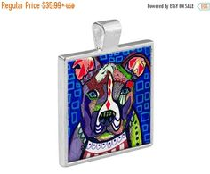 55% Off Today- American Pitbull Terrier Pit Bull Dog Folk Art Jewelry - Pendant Glass Gift Art Heather Galler Gift- Dog Lovers Abstract Mod