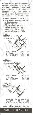 Many locations on the business card, Mikado  |  1903-98 Street, Edmonton, Alberta T6N 1L5, Canad