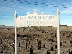 """""""Next door to the Clown office is the Tonopah Cemetery. It dates to the period of 1901 to 1911 and appears to contain many former Tonopah residents who were victims of mining accidents. """"Clown Motel in Tonopah, NV taken by Vintage Roadside"""