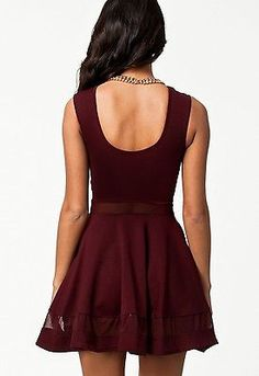 Sexy-Elegant-Mesh-Panel-Club-Skater-Dress-Fashion-Cocktail-Party-Clubwear