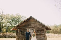 A fall wedding in the woods, complete with a rustic barn! The ceremony had candles dripping from chopped stumps and twinkling lights strung from the trees. We love all the rustic and romantic qualities of this Southern wedding in Georgia.