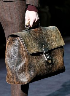 Vintage #leather...Fashion & Lifestyle: Gucci #Bags Fall 2012 Menswear pinterest.com/zoesvintage/distressed-vintage-leather/