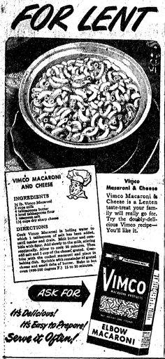 Vintage March 1949 Vimco Macaroni Ad Recipe for Mac and Cheese Viviano Macaroni Co, Carnegie, PA