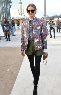Palermo looks vintage-cool in a floral jacket and tailored olive-green shorts atop black tights. #OliviaPalermo #Fashion