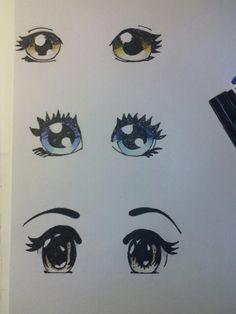 Experiment, Augen zeichnen und faerben . Medium: Bundstift und Marker.