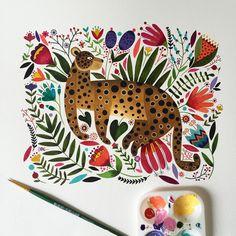 the jaguar is ready! / el jaguar está listo! #watercolor #painting #art #arte #love #animal #jaguar #watercolor #goauche #photooftheday #fun #happy #tropical #nature #rainforest #selva #jungle #instagood #instamood #instagram #instagrammers #aquarelle #artist #artistic