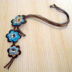 Colar Flores de Feltro - Felt Flowers Necklace | Beat Bijou | Elo7