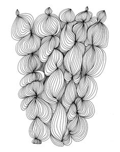 Doodle Puff 8x10 Abstract Fine Art Print of Original Pen and Ink Drawing by virginiakraljevic @ etsy