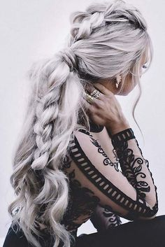 Trendy Fall Hair Colors: Your Best Autumn Hair Color Guide Woman with elaborate braid and silver hair Braided Hairstyles For Wedding, Pretty Hairstyles, Hairstyle Ideas, Style Hairstyle, Braid Hairstyles, Ladies Hairstyles, Short Hairstyles, Updo Hairstyle, Everyday Hairstyles