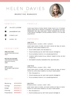 Fully editable resume / cv template in MS Word, 2 page template. 2 color versions in 1 + matching cover letter templates. https://gosumo-cvtemplate.com/product/cv-template-london/