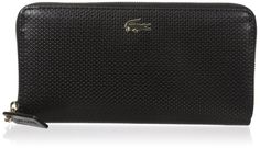 Lacoste Chantaco Large Zip Wallet, Black, One Size. Ten interior card slots, various pockets and zip change pouch. Gold-tone metal crocodile branding. Dimensions 20.5 x 10.5 x 2.5 cm. Exterior and interior in coated leather.