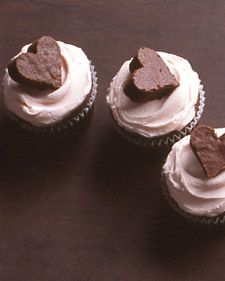 cupcakes with brownie cutouts on top