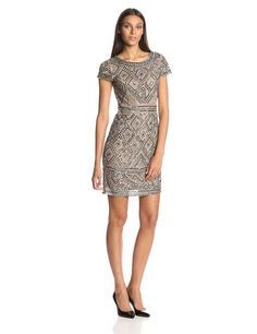 AmazonSmile: Adrianna Papell Women's Beaded Cocktail Dress: Clothing