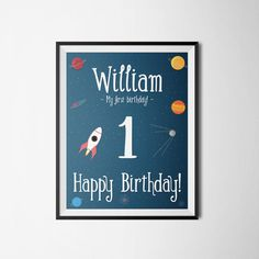 Williams First Birthday by oprezent on Etsy. #poster #birthday #child #gift #illustration