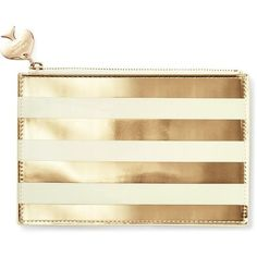 Kate Spade Gold Stripe Pencil Pouch (41 CAD) ❤ liked on Polyvore featuring home, home decor, office accessories, bags, kate spade, kate spade pencil pouch, kate spade pencils ve kate spade pencil case