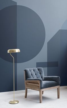 Welcome the bold & stylish Blue Geometric Shapes Modern Bauhaus Wallpaper Mural into your space and enjoy the unique look. Interior Bauhaus, Room Interior, Deco Design, Wall Design, House Design, Colour Blocking Interior, Geometric Shapes Wallpaper, Inspiration Wand, Blue Wallpapers