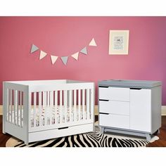 Babyletto 2 Piece Nursery Set - Mercer Crib and Hudson Changer Dresser in Grey and White FREE SHIPPING