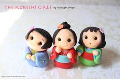 Kokeshi Girls Fondant Cupcake toppers - I made something fun video with these girls!! http://www.youtube.com/watch?v=vLhu5OP7cgk http://www.mimicafeunion.com