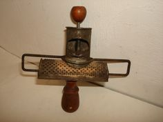 Antique Primitive Tin & Wood Nutmeg Grater; Circa 1800's